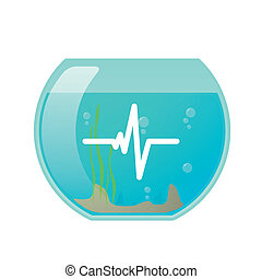 Fisshbowl with a heart beat icon - Illustration of an...