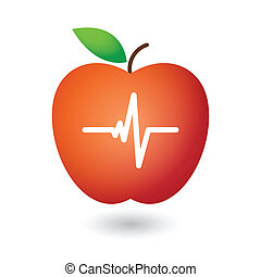 Apple with heart beat icon