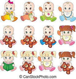 Collection of baby vectors - Baby vectors isolated on white...