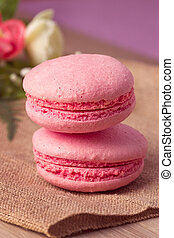 Pink macaroon with raspberry