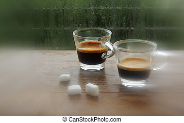 two cups of coffee espresso