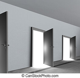 Doors revealing bright light