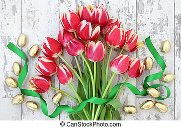 Easter Celebration - Easter eggs with red tulip flower...