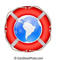 Globe in Lifebuoy. Vector Illustration.