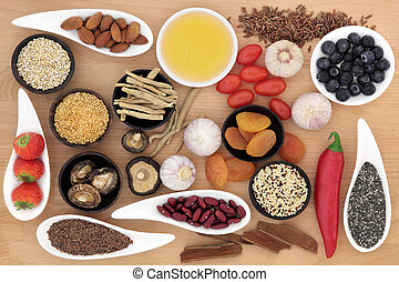 Superfood selection over beech wood background