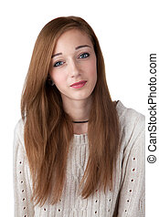 Teenage girl with red hair isolated on white