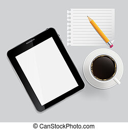Abstract design tablet, coffee, pencil, blank page on boards Background  vector Illustration.