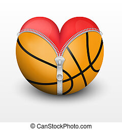 Red heart inside basketball ball. Symbol of love for the...