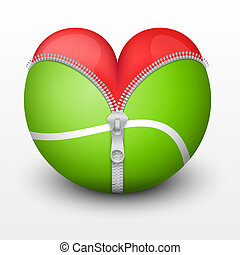 Red heart inside tennis ball Symbol of love for the sport...