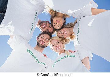 feliz, voluntarios, formación, grupo, contra, azul,...