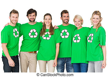 Group portrait of people wearing recycling symbol t-shirts -...