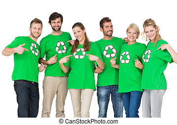 People in recycling symbol t-shirts - Group portrait of...