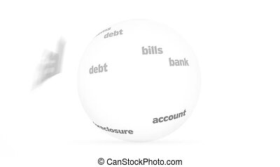 Bankrupt Word Sphere - Flying words forming a Bankrupt Word...