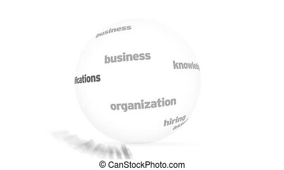 Human Resources Word Sphere - Flying words forming a Human...