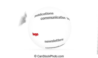 Marketing Word Sphere - Flying words forming a 3D Marketing...
