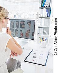 工作, 相片, 電腦, 編輯, 女性, 培養, 看法