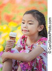 子供, アジア人, 氷, クリーム