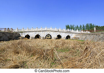 ZUNHUA - MAY 11: White marble five-hole stone bridge in the Eastern Royal Tombs of the Qing Dynasty on May 11, 2013, Zunhua, Hebei Province, china.