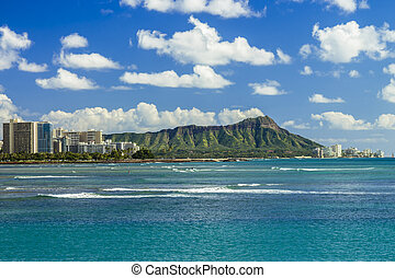 Diamond Head and Waikiki on the south shore of Oahu, Hawaii