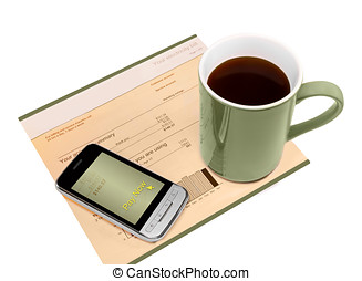 "Cell phone with ""pay now"" link on screen, paper account invoice, coffee cup. Business mobility concept. Isolated on a white background. Horizontal photo."