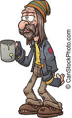Cartoon beggar. Vector clip art illustration with simple...