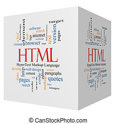 HTML 3D cube Word Cloud Concept with great terms such as...