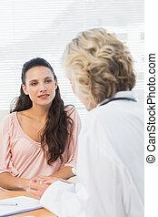 femininas, paciente, Escutar, doutor,...