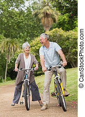 Cheerful senior couple on cycle ride in countryside - Full...