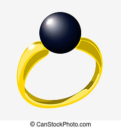 Illustration of ring - Golden ring with black pearl. Vector...