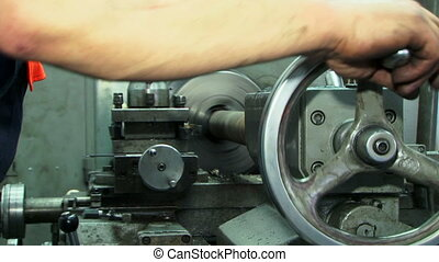 Working turning machine - Turning machine working at a...