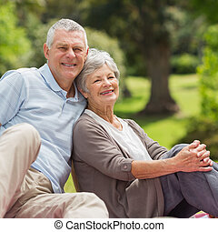 Smiling senior couple sitting at park