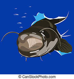 catfish - illustration of angry catfish done in cartoon...