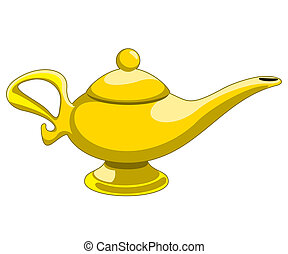 aladdins lamp - Doodle style genie aladdins lamp vector...