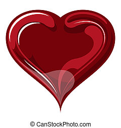 Red heart on valentine`s day - red glass vector heart on a...