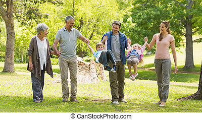 Full length of an extended family in park - Full length of...