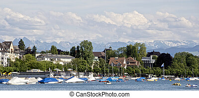 Swiss Alps - Lake at the foot of the Alps in Zurich...
