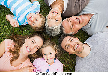 Extended family lying in circle at park - High angle...