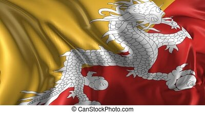 Flag of Bhutan - Beautiful 3d animation of Bhutan flag in...