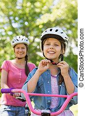 女, 娘, 彼女, 乗馬, 自転車, 微笑