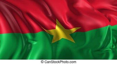 Flag of Burkina - Beautiful 3d animation of Burkina flag in...