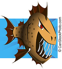 Cartoon Piranha - Vector. Clip-Art