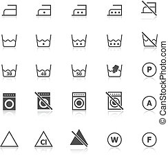 Laundry icons with reflect on white background, stock vector