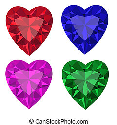 Jewel set Heart Vector illustration Clip Art