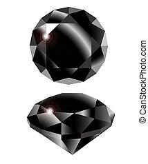 Vector black diamond on white background. Clip-Art.