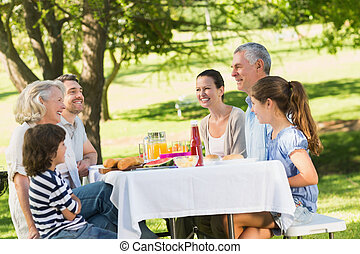 Extended family dining at outdoor table