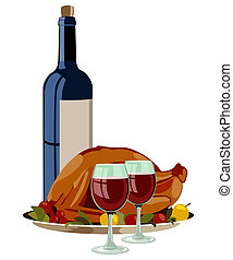 Thanksgiving Turkey with Fruits and Vino. Isolated Vector...