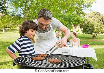 família, férias, tendo, churrasco