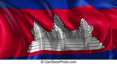 Flag of Cambodia - Beautiful 3d animation of Flag in loop...