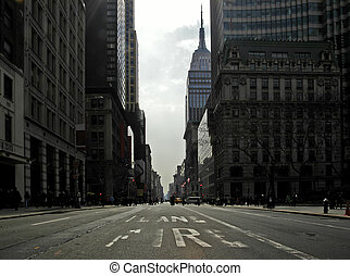 Fifth Avenue on st. Patrick\'s Day. The empty firelane in a...
