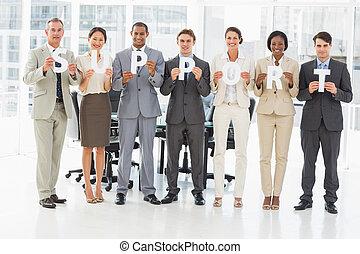 feliz, empresa / negocio, equipo, tenencia, Arriba, Cartas,...